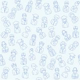 Hand Drawn Seamless People Icons Royalty Free Stock Photos
