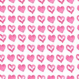 Hand drawn seamless pink hearts background vector illustration