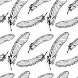 Hand Drawn Seamless Plumage Pattern. Black and White Endless Feather Background Royalty Free Stock Photo