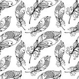 Hand Drawn Seamless Plumage Pattern. Vector Black and White Endless Feather Background Stock Photos
