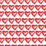 Hand drawn seamless red hearts background royalty free illustration