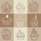 Hand drawn seamless with set of cakes Royalty Free Stock Image