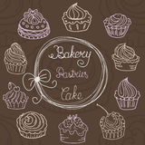 Hand  drawn seamless with set of cakes Royalty Free Stock Photos
