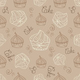 Hand  drawn seamless with set of cakes Stock Photos