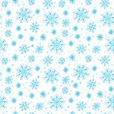 Hand drawn seamless snowflakes. On white background Royalty Free Stock Photos