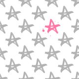 Hand drawn seamless star pattern with ink doodles. royalty free illustration