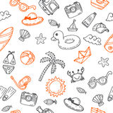Hand drawn seamless summer pattern with beach icons. Background stock illustration