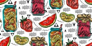Hand drawn seamless summer pattern.Lemonade,Summer berrys Jam,lemons,strawberrys and watermellow stock illustration