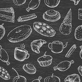 Hand drawn seamless texture of sweets. Doodles on chalkboard background royalty free illustration