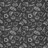 Hand drawn seamless texture of sweets. Doodles on chalkboard background vector illustration
