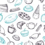 Hand drawn seamless texture of sweets. Doodles on white background stock illustration