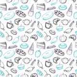 Hand drawn seamless texture of sweets doodles. Hand drawn seamless texture of sweets doodles on white background royalty free illustration