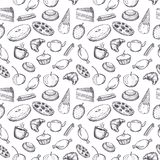 Hand drawn seamless texture of sweets doodles. royalty free stock photography