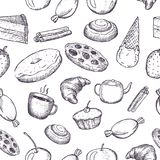 Hand drawn seamless texture of sweets. Doodles on white background vector illustration