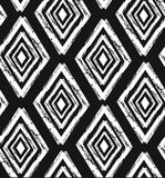 Hand drawn seamless tribal pattern in black and cream. Modern textile, wall art, wrapping paper, wallpaper design. stock illustration