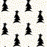 Hand drawn seamless vector pattern background illustration with gold confetti and black christmas trees with stars. Hand drawn seamless pattern background Stock Images