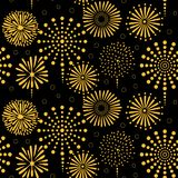 Fireworks seamless pattern. Hand drawn seamless vector pattern with bright golden fireworks, on a black background. Design concept for birthday party, New Year Royalty Free Stock Images