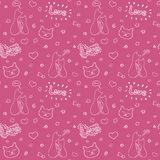 Hand drawn seamless vector pattern with cats and romantic elements, Valentine day concept stock illustration