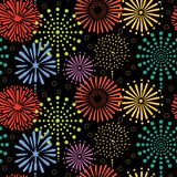 Fireworks seamless pattern. Hand drawn seamless vector pattern with colorful bright fireworks, on a black background. Design concept for birthday party, New Year Royalty Free Stock Image