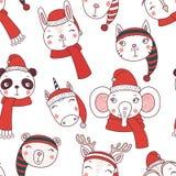 Cute Christmas animals seamless pattern stock illustration