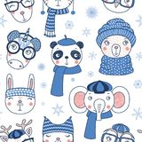 Cute winter animals seamless pattern stock illustration