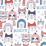 Cute winter animals seamless pattern stock illustration