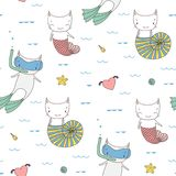 Seamless mermaids pattern Royalty Free Stock Photo