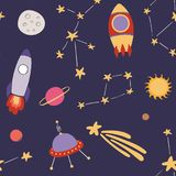 Cute space seamless pattern royalty free illustration