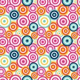 Funky circles seamless pattern. Hand drawn seamless vector pattern with funky concentric circles on a white background. Design concept kids textile print Stock Photography