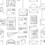 Hand drawn seamless vector pattern. Mail, post, letter, envelope, paper plane,mailbox cartoon Set. Delivery Doodle decorative elem. Ents. Mail and post in sketch stock illustration