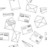 Hand drawn seamless vector pattern. Mail, post, letter, envelope, paper plane,mailbox cartoon Set. Vector illustration. Delivery D. Hand drawn seamless pattern vector illustration