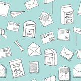 Hand drawn seamless vector pattern. Mail, post, letter, envelope, paper plane,mailbox cartoon Set. Vector illustration. Mail and p. Ost in sketch style. Delivery stock illustration