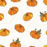 Hand drawn seamless vector pattern with orange pumpkins Stock Photo