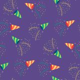 Party poppers seamless pattern. Hand drawn seamless vector pattern with party poppers, serpentine streamers, confetti. Design concept for birthday party, New Royalty Free Stock Image