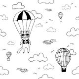 Hand drawn seamless vector pattern with skydiver cat, air baloon, planes and clouds. Design concept for kids textile print, wallpa