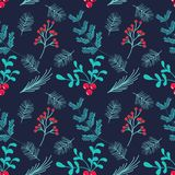 Hand drawn seamless vector pattern.Winter themed background. stock illustration
