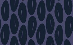 Hand Drawn Seamless Vintage Floral Blob Flower Pattern in Navy Blue and Eggplant Purple. vector illustration