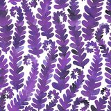 Hand drawn seamless watercolor pattern of purple fern branches royalty free stock photo