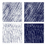 Hand drawn seamless white and cyan simple patterns Stock Photo