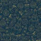 Hand drawn seamless winter pattern. Happy new year background. Doodle design.  Royalty Free Stock Images