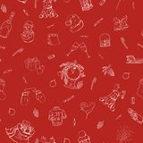 Hand drawn seamless winter pattern. Happy new year red background. Doodle design.  Stock Photos