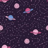 Hand drawn seamlesss pattern with zodiac constellations, planets and moons in pink pastel colors. On the dark background. Cosmic backdrop stock illustration