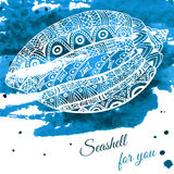 Hand drawn seashell with ethnic motif. Card with place for text. Vector illustration Stock Photos