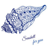 Hand drawn seashell with ethnic motif. Stock Photo
