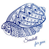 Hand drawn seashell with ethnic motif. Card with place for text. Vector illustration Stock Photography
