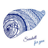 Hand drawn seashell with ethnic motif. Card with place for text. Royalty Free Stock Photography