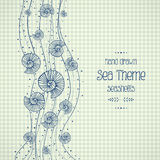 Hand drawn seashells in waves on paper royalty free illustration