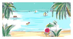 Hand drawn seaside landscape. Tropical resort with deck chair and umbrella, sand beach, exotic palm trees and sail boats. Floating in sea or ocean on horizon stock illustration