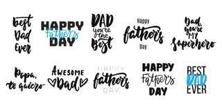 Hand drawn seasons set of lettering phrase about Fathers Day isolated on the white background. Fun brush ink vector Stock Images
