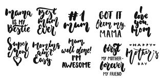 Hand drawn seasons set of lettering phrase about Mothers Day isolated on the white background. Fun brush ink vector Stock Photography